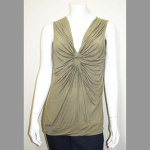 Nine West Army Green Ruched Front Tank Top Blouse